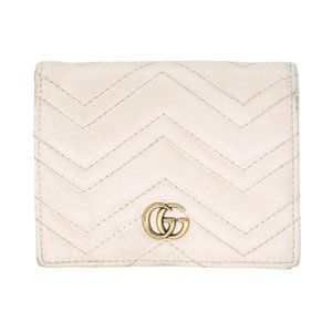 Gucci White Marmont Gold Gg Leather Travel Card Wallet